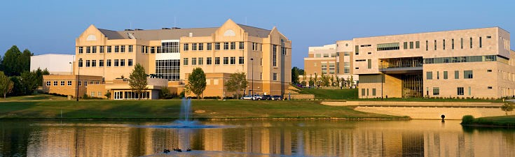 Liberal Arts Center and Business and Engineering Center from Reflection Lake