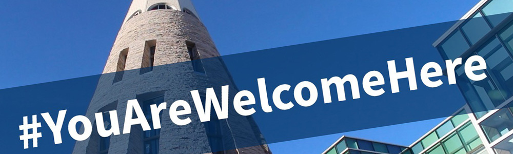 "Image of ""the cone"" looking up  with #YouAreWelcomeHere across the graphic"