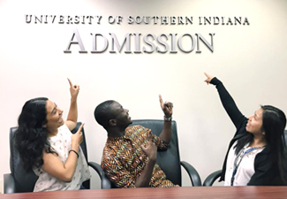 students in admissions office