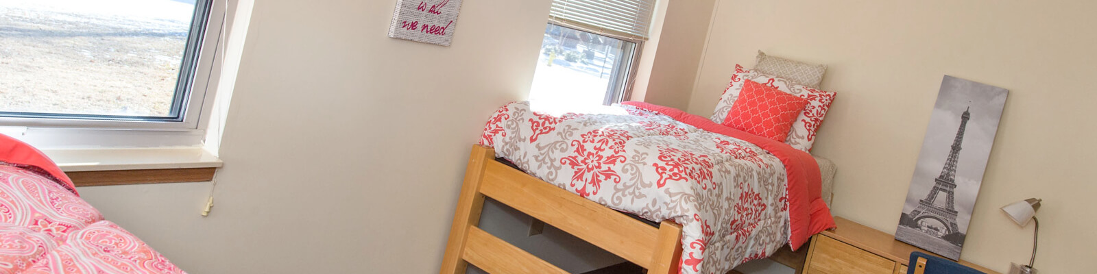residence hall bedroom with beds, decor and windows